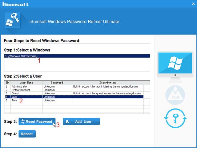 click reset password button