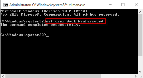 type command to reset windows 10 password for vmware