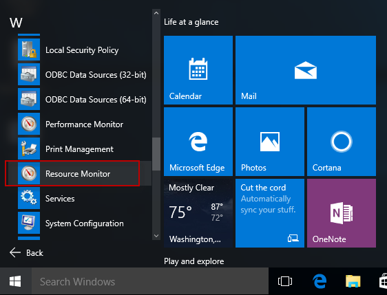 Find resource monitor in start menu