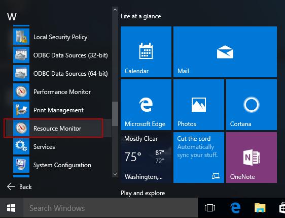 find resource monitor in start menu