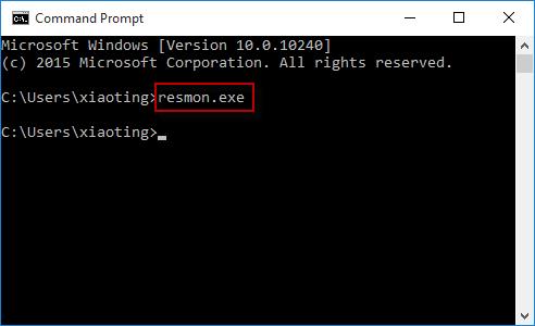 run resmon.exe in cmd