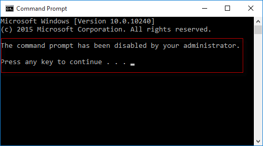command prompt is disabled