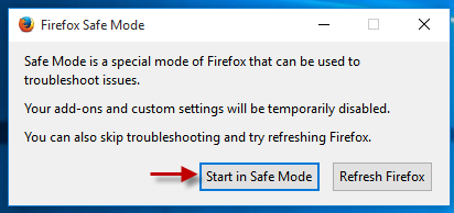 Click Start in safe mode