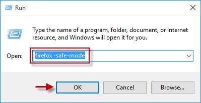 escriba firefox -safe-mode