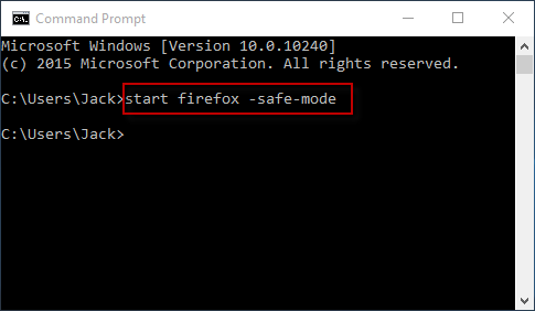 type start firefox -safe-mode