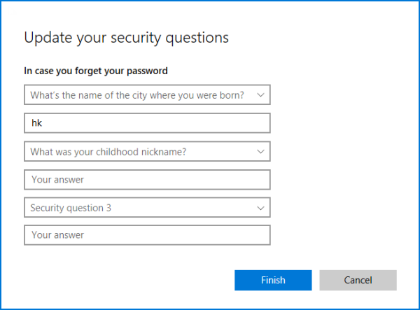 Add security questions