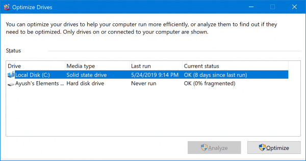 Tell if the hard drive is SSD or HDD in disk derangement