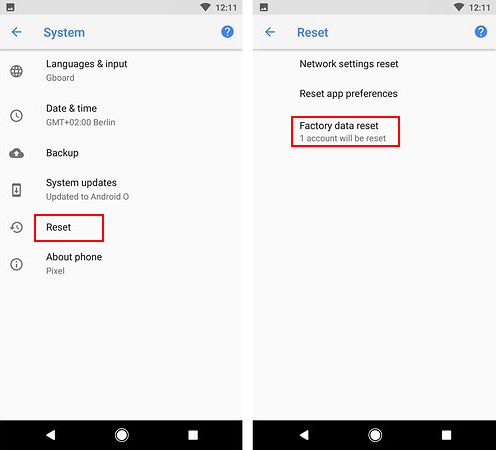 Factory reset data in Android phone