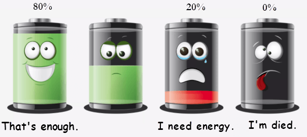 Charge on 20 percent power