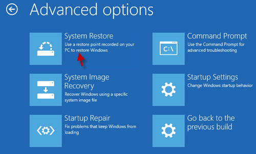 select system restore