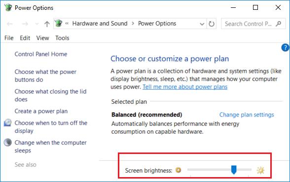 Change screen brightness on control Panel