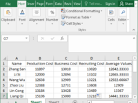 calculate average value of data