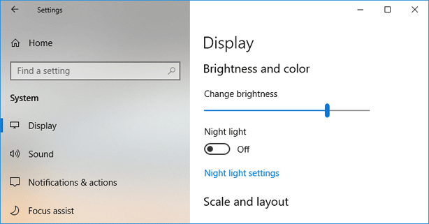 Change screen brightness in Windows 10