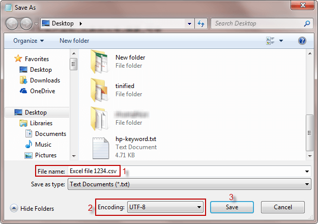elija UTF-8 como codificación correcta