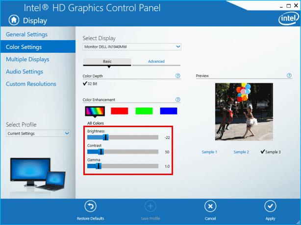 Adjust Display Brightness on Inter Graphics Properties