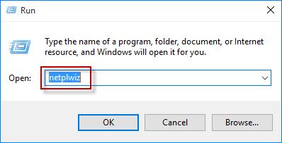 escriba netplwiz en el cuadro de ejecución