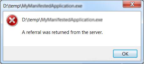 исправить ошибку `` с сервера был возвращен реферал ''