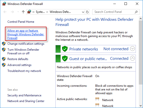 allow google chrome through windows defender firewall