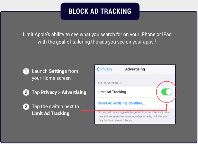 Block ad tracking in iPhone