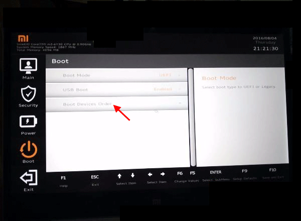 XiaoMi laptop BOIS Setup Utility