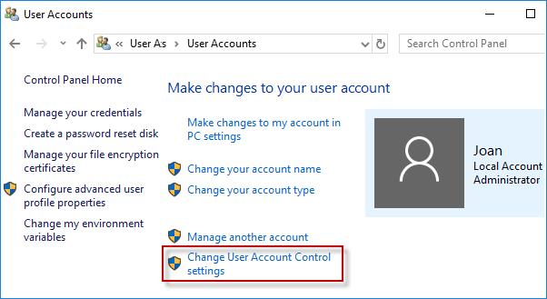 изменить настройки управления учетной записью пользователя