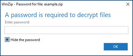 Enter password to decrypt zip file