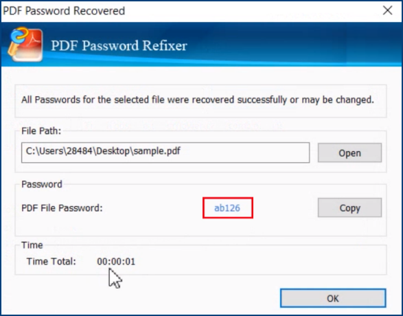 Find back PDF password
