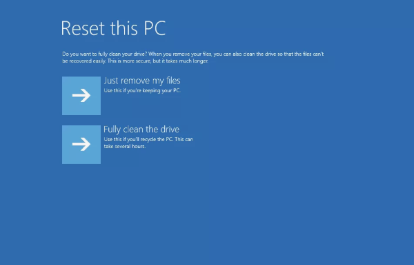select Reset this PC to reinstall Windows 10