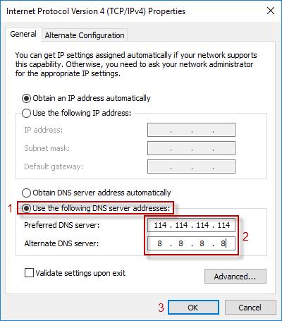 type dns server address