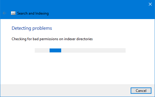 check the windows search problems