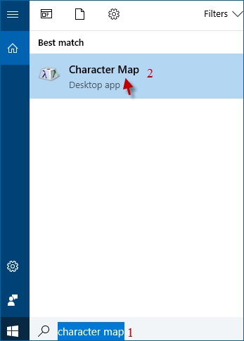 choose character map