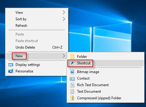 click new shortcut
