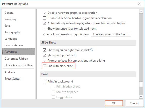 Disable PowerPoint End with Black Slide