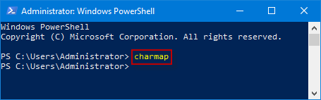 input charmap and press enter