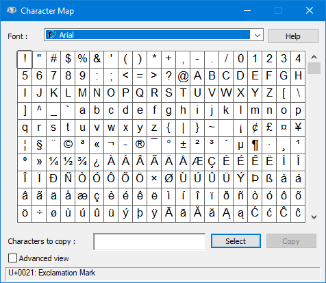 open windows 10 character map