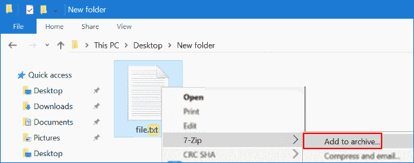 Защитить паролем текстовый файл с помощью 7-zip