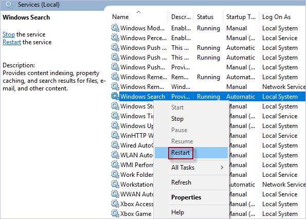 перезапустить поиск Windows