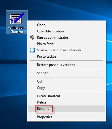 select rename option