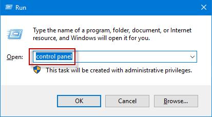 type control panel
