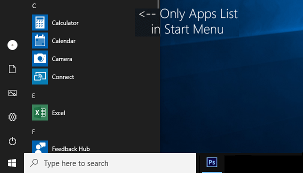 Show/Hide Windows 10 App List