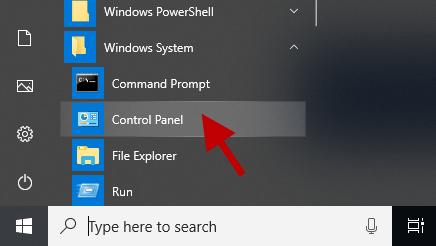 find control panel in start menu