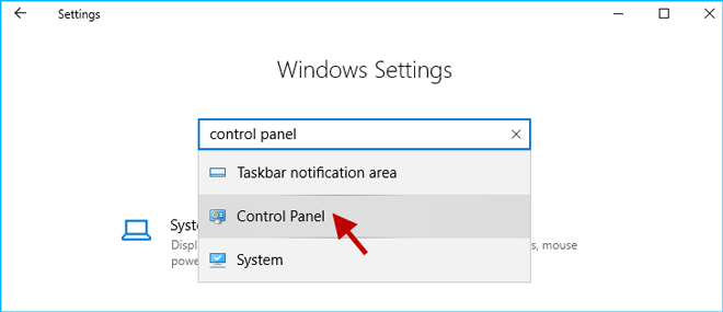 search control panel in Windows Settings