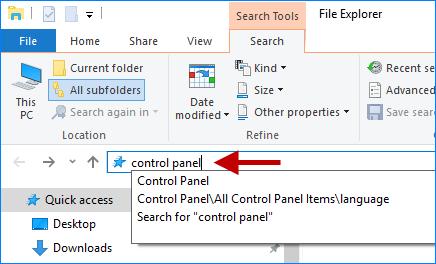search control panel in file explorer