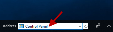 type control panel in address toolbar