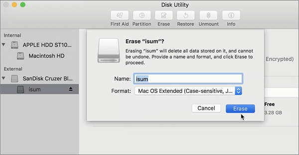Erase data in USB disk