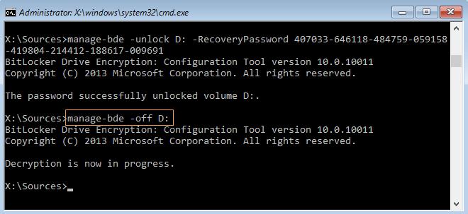 decrypt operating system drive