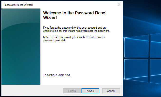 follow Password Reset Wizard