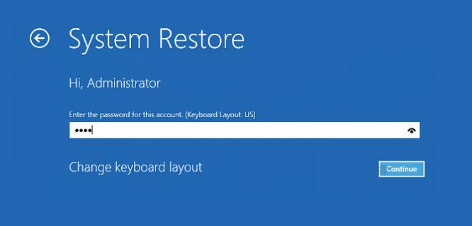 Restore system at boot