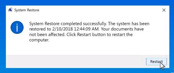 Restart the computer