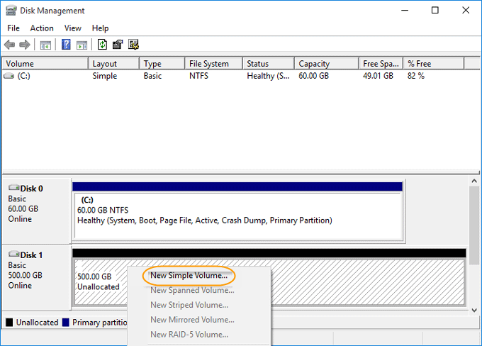 select New Simple Volume option